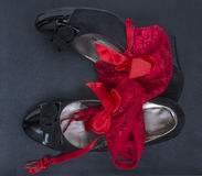 Women shoes and red panties Royalty Free Stock Image
