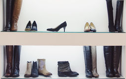 Women shoes store Royalty Free Stock Images