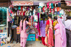 Women shop for underwear in New Delhi Royalty Free Stock Photography