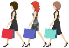 Women shoppers. Three women shoppers on a white background Stock Images