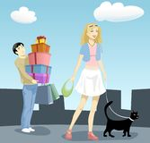 Women and Shopping 2. Illustration of a happy woman doing shopping while her poor man is carrying all the shopping bags Stock Illustration