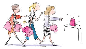 Women_shopping Stock Afbeelding