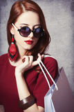 Women with shopping bag Stock Image