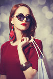 Women with shopping bag Royalty Free Stock Photography