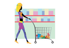 Grocery Shopping cart icon. Woman shopping in supermarket. Shopping time. Girl in London. eps. Sale in the store. Black Friday. Supermarket shop Royalty Free Stock Images