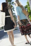 Women With Shopping Bag On Pavement Stock Images