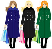 Women Shopping with bags Stock Photo