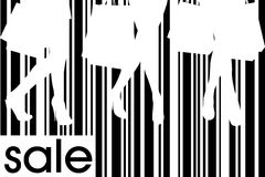 Women with shopping bags on bar code background Royalty Free Stock Photography