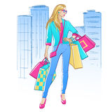 Women with shopping bags. On city background. Vector illustration Royalty Free Stock Images