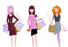 Women with shopping bags isolated on white stock illustration