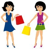 Women with shopping bags. Isolated on white background Vector Illustration