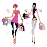 Women with shopping bags. Stock Photography