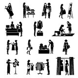 Women Shopping Black Icons Set Royalty Free Stock Photography