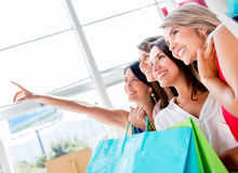 Women at the shopping center Stock Images