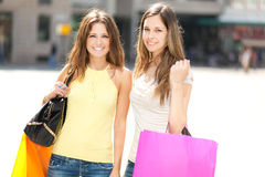 Women shopping in the city Royalty Free Stock Image