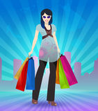 Women shopping in the city. Vector illustration of women shopping with city background. Suitable for card, paper back and flyers Stock Photo