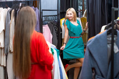 Women shopping clothes Royalty Free Stock Photography