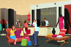 Women Shopping For Clothing. A vector illustration of women shopping in a clothing store Royalty Free Stock Image