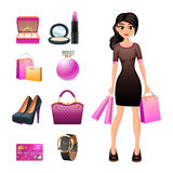 Women shopping decorative set Stock Image