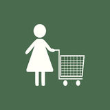 Women Shopping. Flat icon stock image