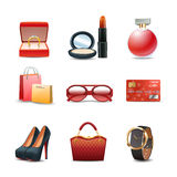 Women Shopping Icon Set Royalty Free Stock Image