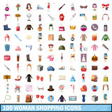100 women shopping icons set, cartoon style. 100 women shopping icons set in cartoon style for any design vector illustration Stock Photo