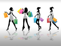 Women Shopping Indicates Retail Sales And Adult Stock Photos