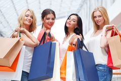 Women shopping in mall Stock Photography