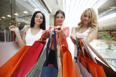 Women shopping in mall Stock Images