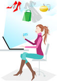 Women shopping online. Using the bank card for purchase Royalty Free Stock Photography