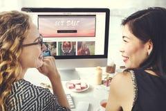 Women Shopping Online Shopaholics Purchase Concept Stock Photo
