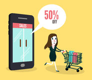 Women shopping online by smartphone. Business and e-commerce concept. Flat design element. Vector illustration stock illustration