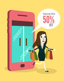 Women shopping online by smartphone. Business and e-commerce concept. flat vector illustration royalty free illustration