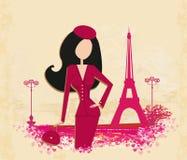 Women Shopping in Paris card. Vector Illustration Stock Photo