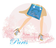 Women Shopping in Paris , close-up of legs Royalty Free Stock Image