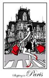 Women shopping in Paris Stock Images