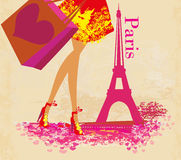 Women Shopping in Paris , Vector Illustration Stock Photo