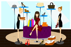 Women Shopping for Shoes. A vector illustration of women shopping for shoes in a shoes store Stock Images
