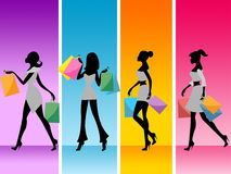 Women Shopping Shows Retail Sales And Adult Stock Images