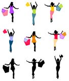 Women Shopping Silhouettes. An illustration featuring your choice of 9 female silhouettes in bright colours with shopping bags. Bottom row is all-black Stock Photos