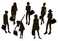 Women Shopping Silhouettes Stock Photo