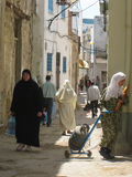 Women shopping at the Souk. Bizerte. Tunisia royalty free stock image