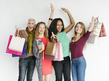 Women Shopping Spending Consumerism Shopaholic Concept. Women Shopping Spending Consumerism Shopaholic royalty free stock images