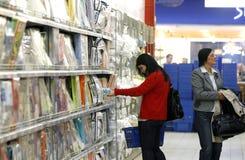 Women shopping at supermarket stock photo