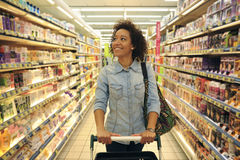 Women,Shopping, Supermarket, Shopping Cart, Retail, Grocery Prod Royalty Free Stock Photos