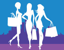 Women Shopping in Town. Vector image of three women shopping in town Stock Photo