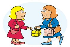 Women and shopping. Two women are going to buy - humorous illustration Stock Photos