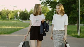 Women after shopping. Two young women walking in the park after shopping talking to each other and smiling stock footage