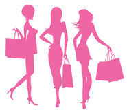 Women Shopping. Vector image of three women shopping stock illustration