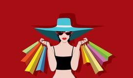 Women Shopping  wearing hats and cateye sunglasses  Stock Photo